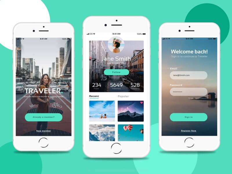 Traveler app design Figma