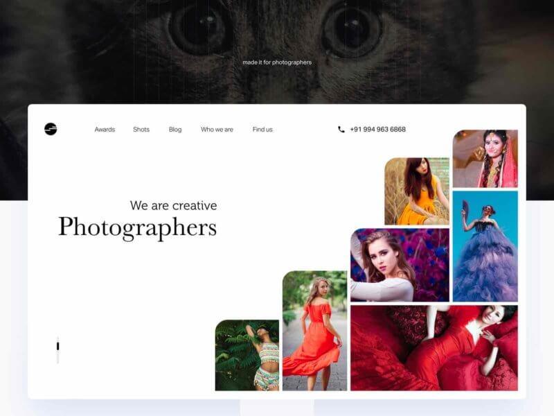 Photographer portfolio template Sketchapp