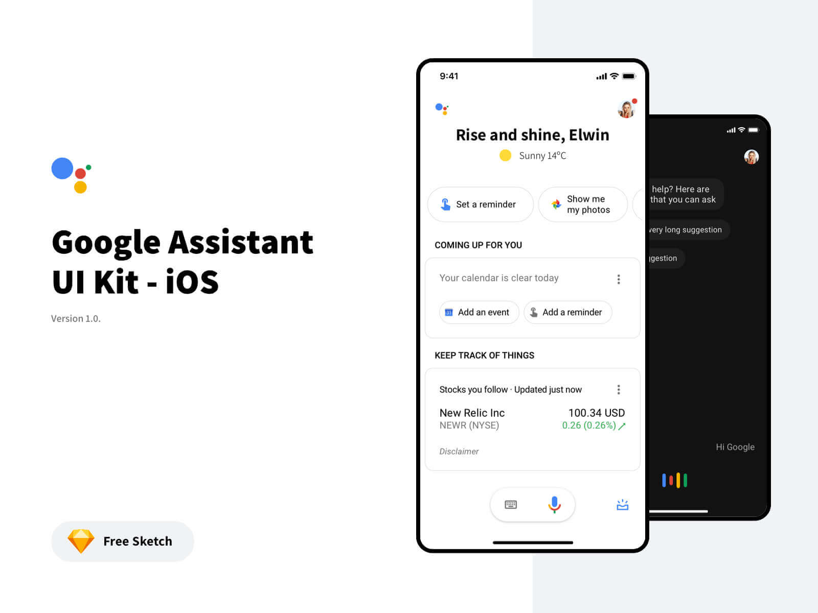 Google Assistant Free UI Kit Sketchapp