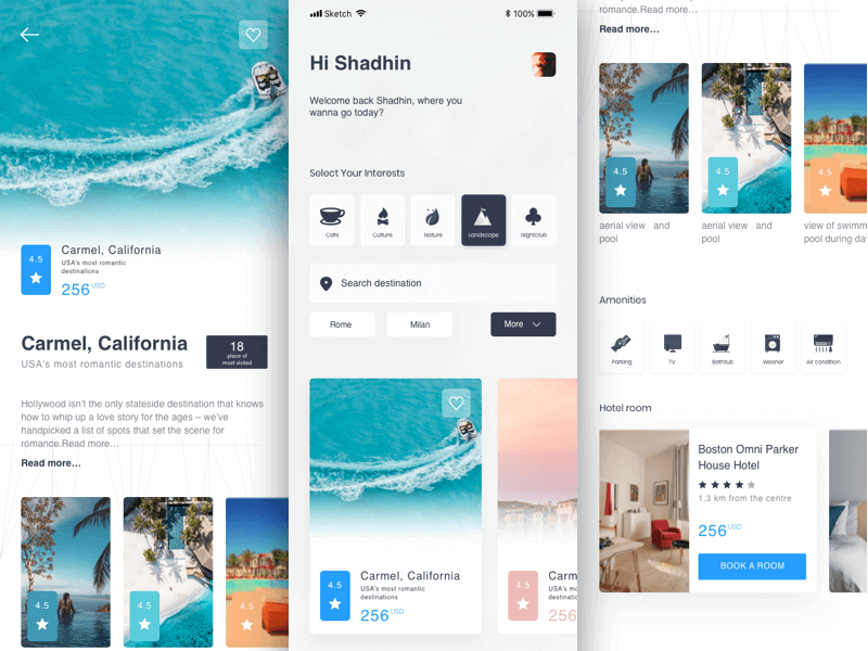 Travel Booking App Sketchapp
