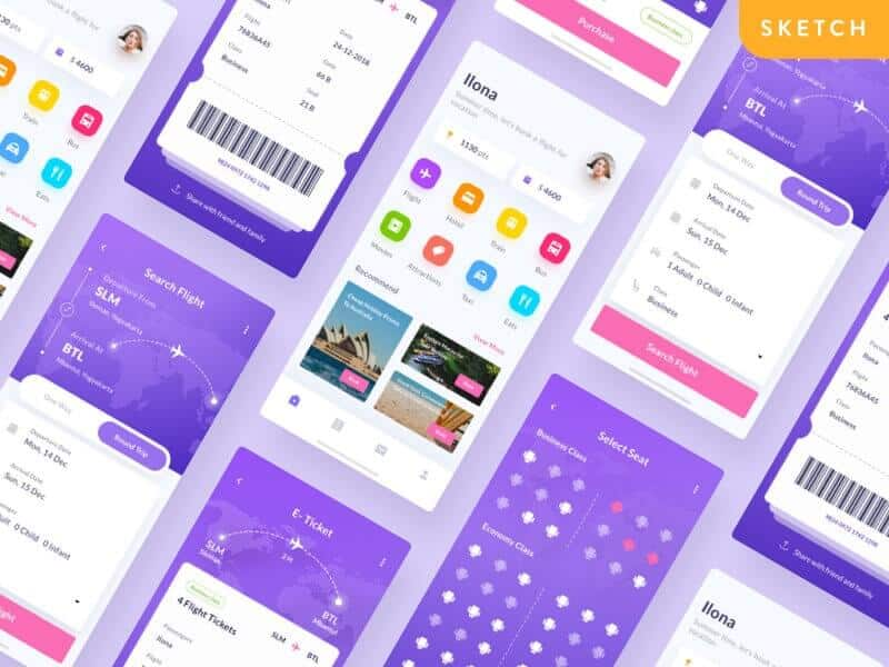 Flight Booking Ticket App Sketchapp