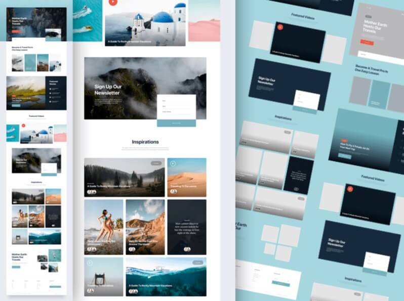 Travel website UI KIT screens - Sketchapp