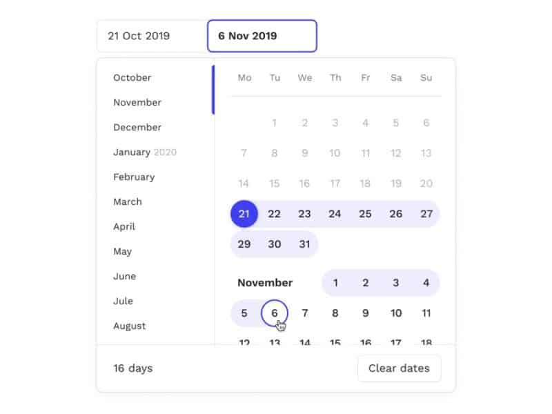 Calendar design Adobe XD