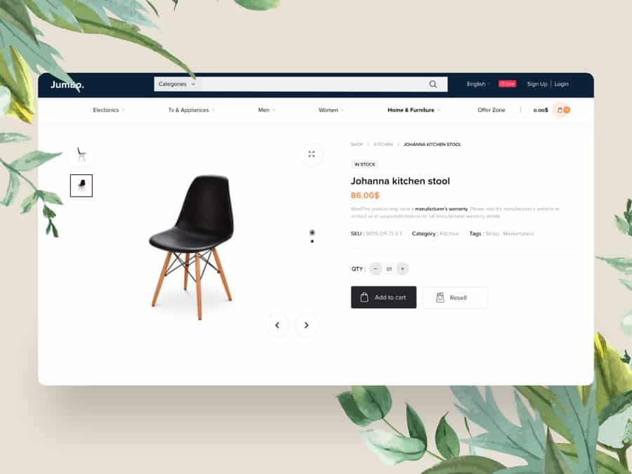 shopping template Free Adobe XD