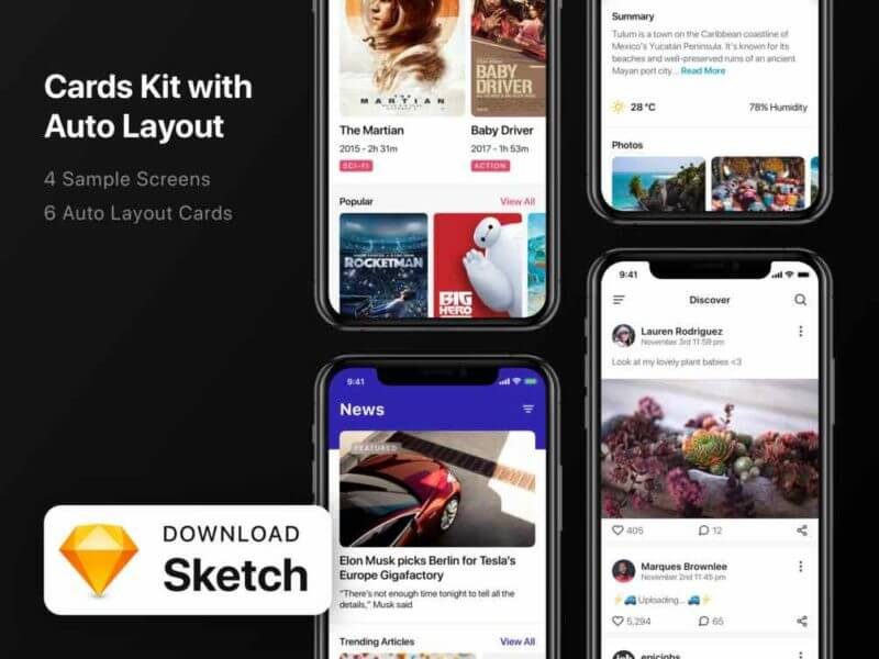 Card Kit with Auto Layout Free Sketch