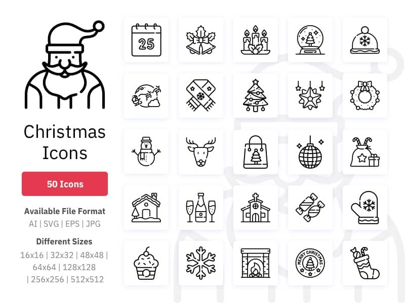 Christmas icons in multiple styles
