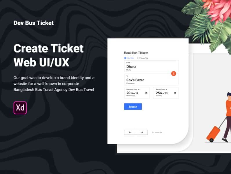 Free Bus Ticket Web UI Adobe XD